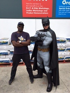 Ronnie and Batman at Bunnings
